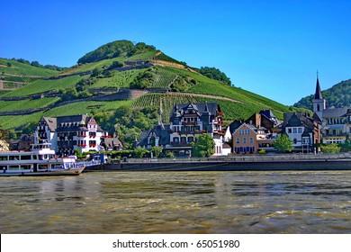 "The village ""Assmannshausen"" on riverside of Rhine"