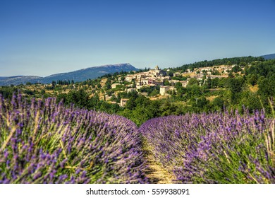 The Village of Aurel Near a Lavender Field in Beautiful Provence, France