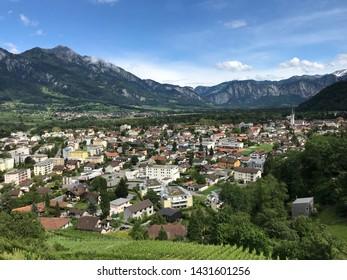 "Village ""Bad Ragaz"" in the Swiss Alps"