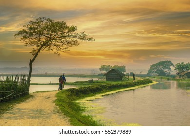 village in Bangladesh during sunset