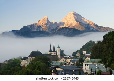 The village of Berchtesgaden in Upper Bavaria, Germany near the Austrian border at sunrise. The mountain in the background is the Watzmann, one of Germanies highest mountains.