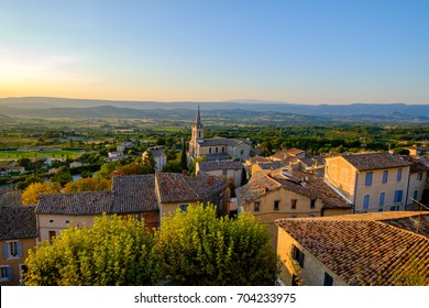 Village Bonnieux, France, Provence, Luberon. View from the top. Sunset.