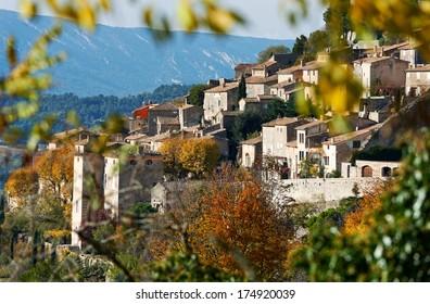 Village Bonniex in autumn season, typical Provence rural scene from South France, Luberon region