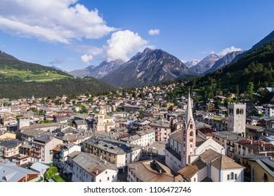 Village of Bormio, Valtellina. Important ski station in the Italian Alps