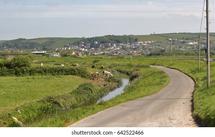 The Village of Braunton in North Devon, UK viewed from the bank of the River Taw
