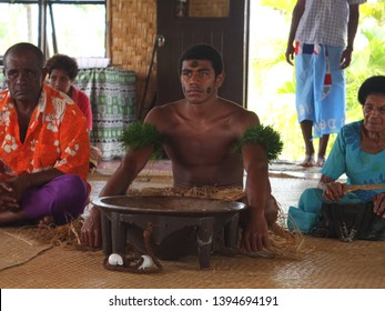 Village by Navua River, Vanua Levu, Fiji - 25th March 2014 - Drinking kava ceremony