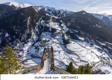 Village of Canillo view from observation deck, in Roc Del Quer trekking trail. Principality of Andorra.