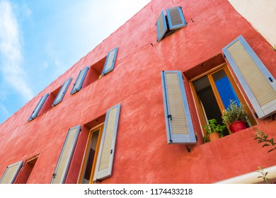 Village Cassis in Provence Cote d'Azur, typical residential building with shutters