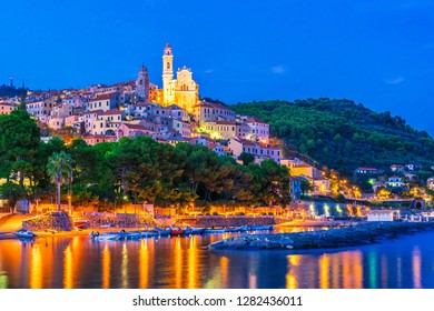 The village of Cervo on the Italian Riviera in the province of Imperia, Liguria, Italy