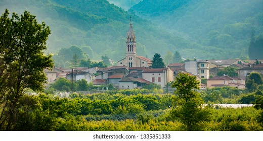 The village church in the commune of Tournon-sur-Rhone along the Rhone River, France.