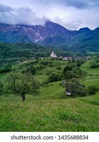 village with church in slovenia