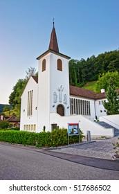 Village Church at Turbenthal with Swiss Alps in Winterthur district, Zurich canton of Switzerland.