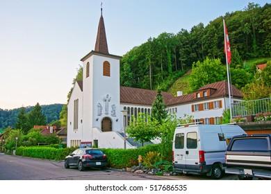 Village Church in Turbenthal with Swiss Alps in Winterthur district, Zurich canton of Switzerland.