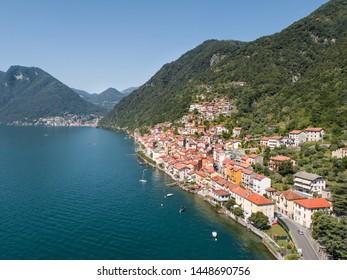 Village of Colonno, lake of Como - Italy. Aerial view