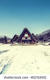 village cottage in japan in winter season.vintage color