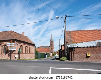 village crossing in northern french part of nord pas de calais