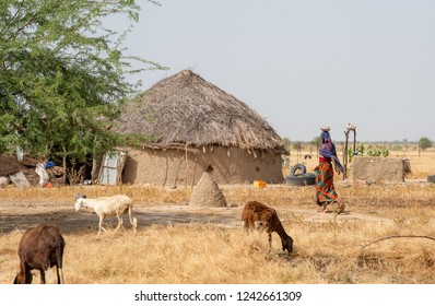 Village in desert and farming villagers people with traditional self-built house. Chad N'Djamena travel, located in Sahel desert and Sahara. Hot weather in desert climate on the Chari river.