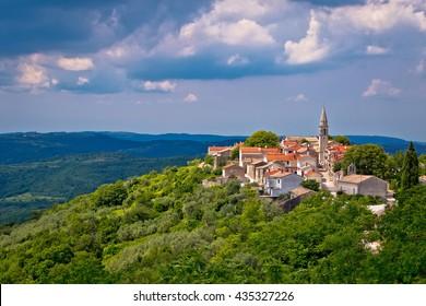 Village of Draguc in green landscape, inland Istria, Croatia
