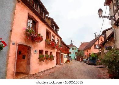 village Eguisheim in Strasbourg region , watercolor style