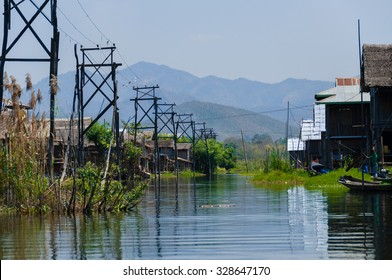 Village with electricity at Inle Lake Burma Myanmar