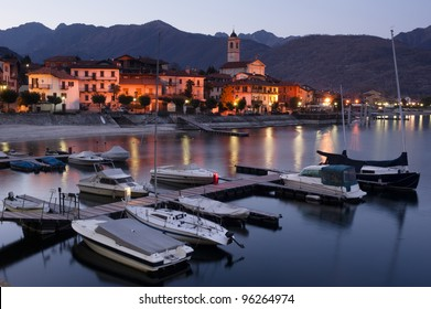 The village of Feriolo on Lake Maggiore, Italy, at night