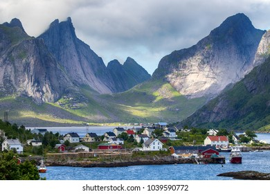 village in front of the mountains, lofoten islands