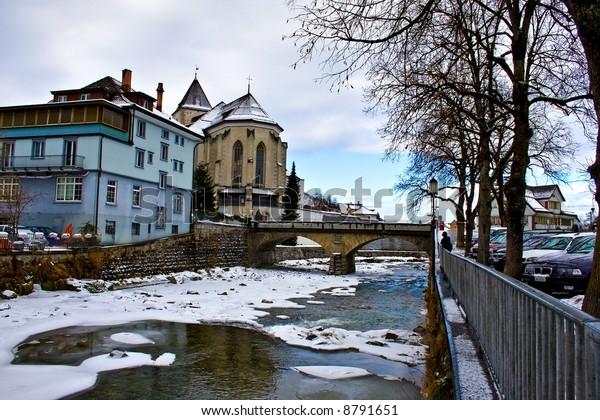 Village Frozen River Winter Appenzell Switzerland Stock