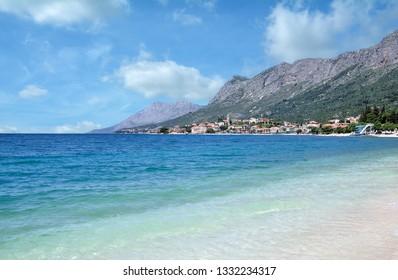 Village of Gradac at Makarska Riviera,adriatic Sea,Dalmatia region,Croatia