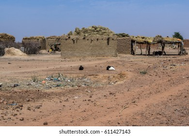 Village grain stores and houses in Niger, West Africa