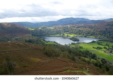 The Village of Grasmere viewed from the Alcock Tarn walk in the lake district of England