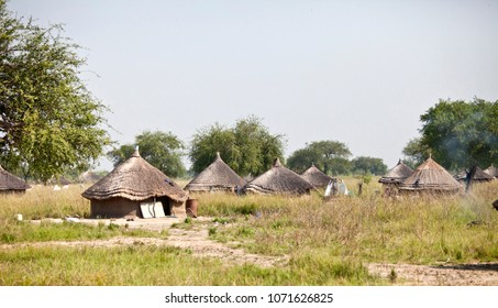 Village of grass huts in remote area of South Sudan.