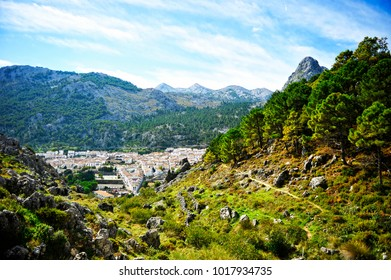 The village of Grazalema among mountains, White Villages, province of Cadiz, Spain