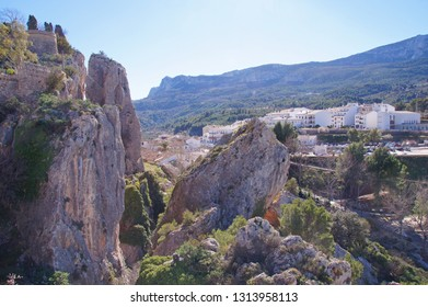 The village of Guadalest in Alicante province seen from the castle