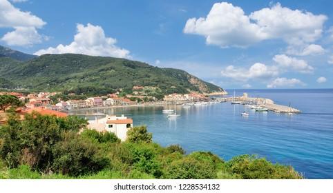 Village and Harbor of Marciana Marina on Island of Elba,Tuscany,mediterranean Sea,Italy