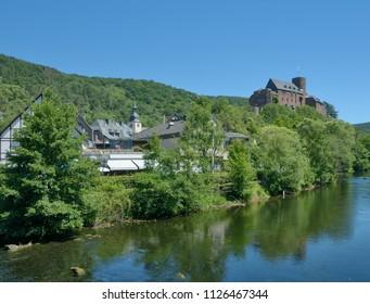 Village of Heimbach at Rur River in Eifel National Park,North Rhine westphalia,Germany
