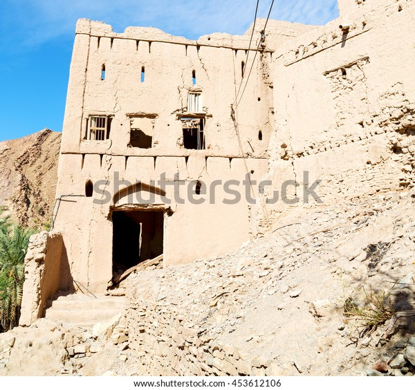 village house and  cloudy sky in   oman the old abandoned