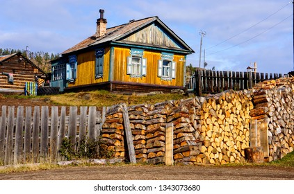 Village house view. Russian village house. Village house in Russia. Old village house view