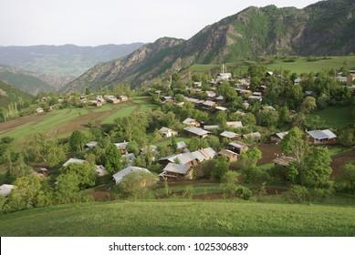 village houses in the forest .artvin turkey