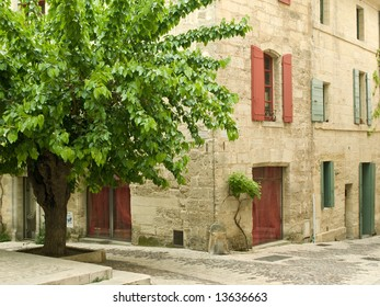 Village houses and tree, France