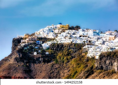 The Village of Imerovigli on Santorini, Greece, as Seen from the the Walking Path to Thera (Fira)