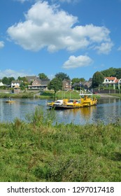 Village of Kessel and Ferry at Maas River in Limburg,Netherlands