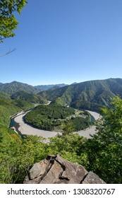 The village of Kidzuro surrounding by the meandering river, Mie prefecture, Japan