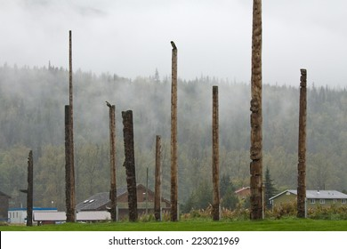 Village of Kispiox, British Columbia with an array of traditional totem poles