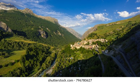 The village of La Grave in the Romanche Valley in Summer. Hautes-Alpes, Ecrins National Park, French Alps, France
