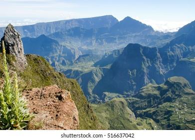 The village of La Nouvelle on cirque of Mafate in La Reunion island, France