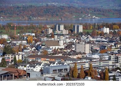 The village of Lachen on Lake of Zurich, Canton of Schwyz, Switzerland