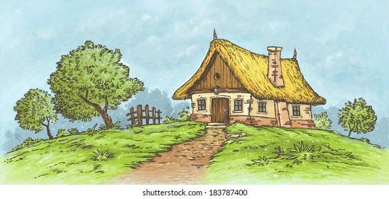 Village Landscape Little Cottage llustration