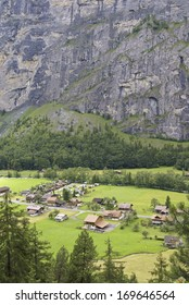 Village of Sandb���¼ch in Lauterbrunnen Valley, Switzerland. View from the trail ascending to Tr���¼mmelbach Falls