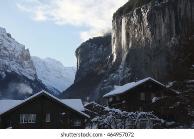 The village of Lautterbrunnen in the Swiss Alps lies in a fault in the earths crust providing a spectacular series of cliffs and waterfalls