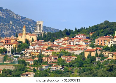 Village of Le Turbie and the Trophy of Augustus on a green hill, French Riviera, France